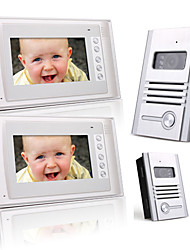 2 Alloy 7 Inch Color TFT LCD Video Door Phone Intercom System (2 Alloy Cameras)