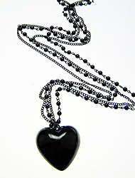 Black Heart Beaded Necklace