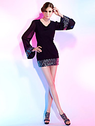 Sheath / Column V-neck Short / Mini Chiffon Sequined Cocktail Party Dress with Sequins by TS Couture®