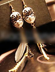 Chain Feather Mask Long Earrings