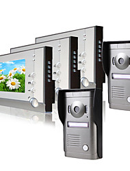 Three 7 Inch Monitor  Color Video Door Phone System  (2Alloy Weatherproof Cover Camera)