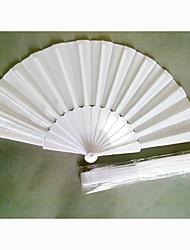 tecido branco clássico e ventilador de mão de plástico dobrável (conjunto de 4)