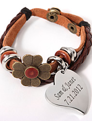Layered Bracelet With Flower And Personalized Charm