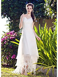 Lanting A-line/Princess Plus Sizes Wedding Dress - White Asymmetrical V-neck Organza