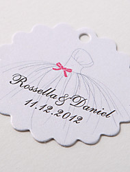 Personalized Scalloped Favor Tag – Wedding Dress (Set of 60)