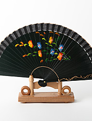 Spanish Style Dark Green Hand Fan (Set of 4)