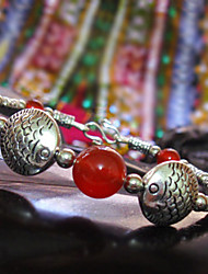 Red Agate Bead Fish Bangle