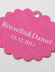 Personalized Scalloped Favor Tag – Pink Baroque (Set of 60)