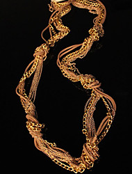 Stacked Leather&Chain Mixed Knots Long Necklace