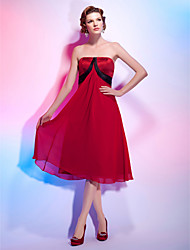 A-Line Princess Strapless Knee Length Chiffon Satin Cocktail Party Homecoming Dress with Draping Sash / Ribbon by TS Couture®