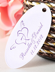 Personalized Oval Favor Tag – Winged Hearts (Set of 60)