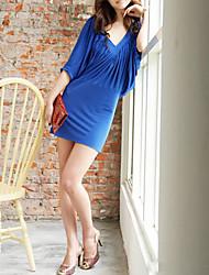 Sheath/Column V-neck Draping Mini/Dress