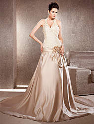 Lan Ting A-line/Princess Plus Sizes Wedding Dress - Champagne Chapel Train V-neck Satin/Lace