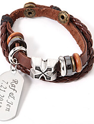 Personalized Leather Bracelet With Silver Charm