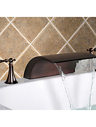 Oil Rubbed Bronze Widespread Waterfall Bathroom Sink Faucet