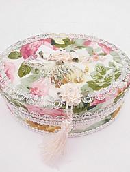 Oval Rose Print Jewelry Box With Elegant Tassel