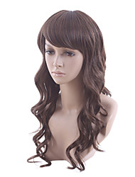 Capless Fashion Slightly Long Fluffy Curly Synthetic Wig Oblique Bang