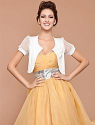 Short Sleeve Chiffon/ Cotton With Flowers/ Botton Bridal Jackets/ Wraps