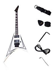 V Shape Heavy Metal Electric Guitar with Accessories in White/Black Color