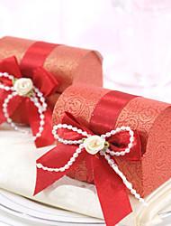 rouge au trésor boîte de faveur la poitrine (jeu de 12)