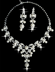 """conjunto de pérolas brancas duas senhoras peças de jóias de fantasia """"(45 cm)"""