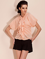 TS Ruched/Ruffle Blouse , Polyester Short Sleeve