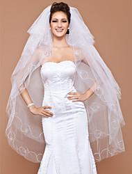 cinco niveles de vals velo de novia con el borde de corte