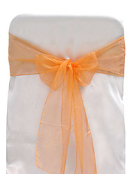 "Wedding Décor 7.8"" Beautiful Organza Chair Ribbon Sash – Set of 6 (More Colors)"