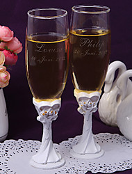 Personalized White Lily Toasting Flutes