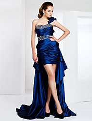 Homecoming Cocktail Party/Formal Evening Dress - Royal Blue Plus Sizes Sheath/Column One Shoulder Asymmetrical/Sweep/Brush Train/Short/Mini Taffeta