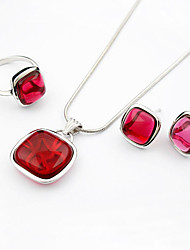 Luxurious Crystal Two Piece Sterling Silver Royalty Ladies Necklace and Earrings Jewelry Set