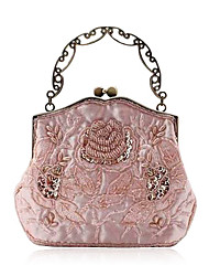 Elegant Silk Evening Bag With Stone Flower Front