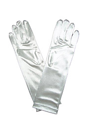 Elbow Length Fingertips Glove Satin Bridal Gloves / Party/ Evening Gloves Spring / Summer / Fall White
