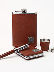 5-piece Quality Stainless Steel 9-oz Flask Gift Set With Bear Design
