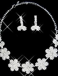 conjunto de prata strass duas peças senhoras de flores deslumbrantes de design de jóias de casamento (45 cm)