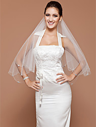 One-tier Fingertip Wedding Veil With Beaded Edge