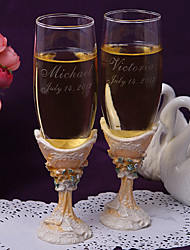 Personalized Orange Theme Toasting Flutes