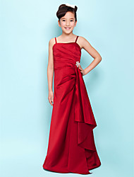 A-Line Princess Spaghetti Straps Floor Length Satin Junior Bridesmaid Dress with Side Draping Cascading Ruffles Crystal Brooch byLAN TING