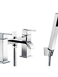 Bathtub Faucet / Shower Faucet - Contemporary - Clawfoot / Handshower Included - Brass (Chrome)