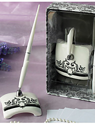 """Roman Holiday"" Vintage Wedding Pen Set In Ceramic Sign In Book"