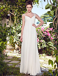 Lanting Bride® Sheath / Column Petite Wedding Dress - Classic & Timeless Floor-length V-neck Chiffon with