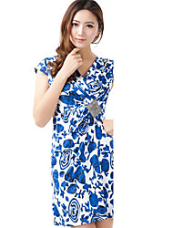 Deep V-neck China Printed Knitted Dress