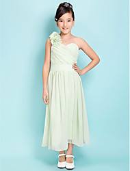 Tea-length Satin Chiffon Junior Bridesmaid Dress - Sage Sheath/Column / A-line One Shoulder / Sweetheart