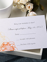 Personalize Wedding Response Cards - Orange Floral Prints (Set of 50)