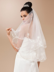One-tier Tulle With Applique Fingertip Length Veil (More Colors)