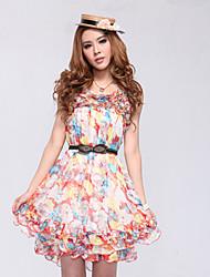 Chiffon Flower Printed Dress