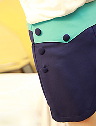Color Block Button Shorts