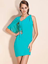 TS Cape-style One Shoulder Chiffon Dress (More Colors)