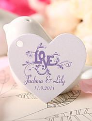 el corazón en forma personalizada etiqueta del favor - el amor violeta (juego de 60)