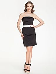 Short/Mini Satin Bridesmaid Dress - Black Plus Sizes / Petite Sheath/Column Strapless